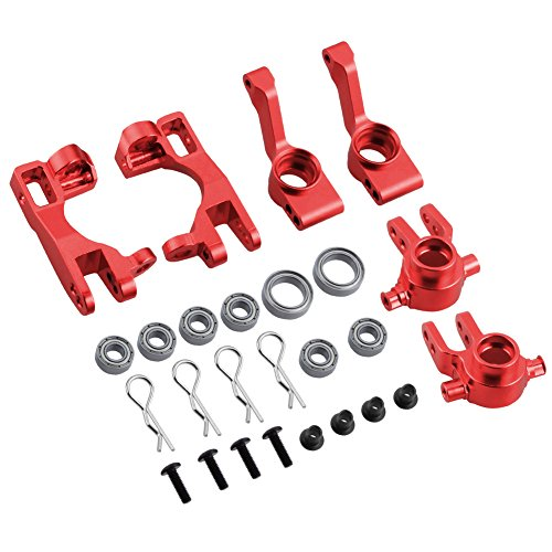 Hobbypark for 1/10 Traxxas Slash 4x4 Upgrade Parts Aluminum Left & Right Steering Blocks Caster Stub Axle Carriers with Ball Bearings Replace 6837X 6832X 1952X Option