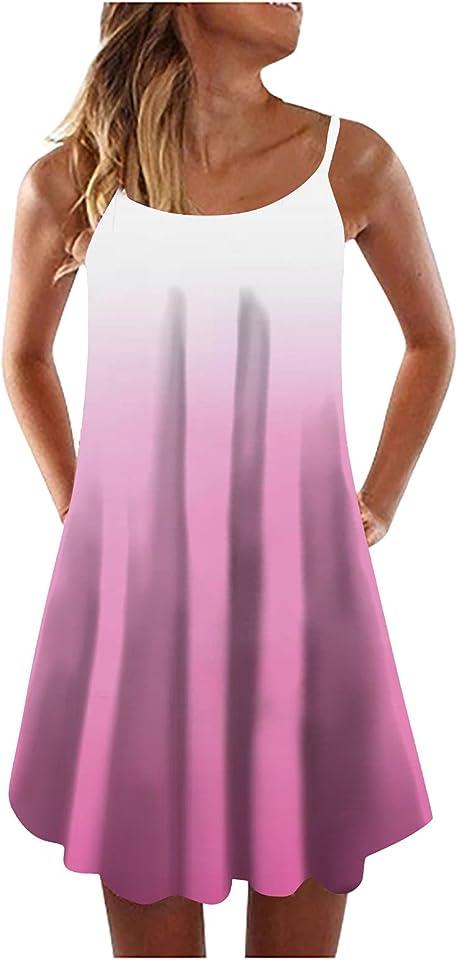 WUHOVILA Boho Floral Printed Dress Sleeveless Adjustable Strap Beach Mini Dress, Summer Dress for Women