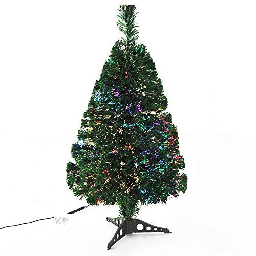homcom Albero di Natale Artificiale Realistico PVC Fibra Ottica con 55 Rami Altezza 60cm