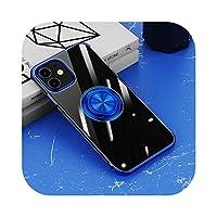 CaTinx for iPhone 12 11 Pro Max Mini XS XR X 7 8 Plus SE 2020&リングホルダースタンド用の透明なクリアケースのメッキ超薄型ソフトカバー-Blue-for iPhone XS