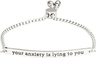 """A N KINGPiiN Pulsera de eslabones ajustables con cadena ajustable, diseño con texto en inglés """"Your Anxiety is Lying to You"""""""