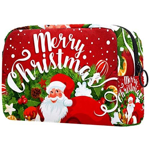 Neceser de Maquillaje Estuche Escolar para Cosméticos Bolsa de Aseo Grande Feliz Navidad Papá Noel Vino Tinto