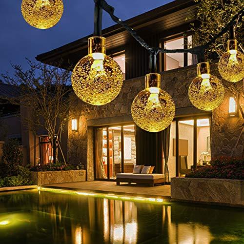 Solar Lichterkette Außen FOCHEA 14M 80er LED Aussen Solar Lichterkette Kristall Kugeln 8 Modi IPX5 Wasserdicht Solarbetriebene Lichterkette Außenlichterkette Garten Lichterkette Beleuchtung für Partys