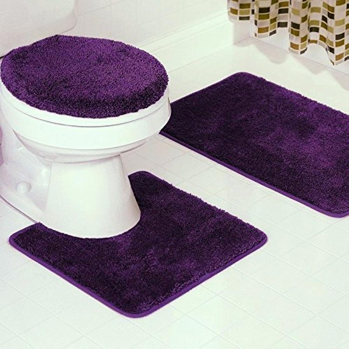 Fancy Linen 3pc Dark Purple Non-Slip Bath Mat Set Bathroom U-Shaped Contour Rug, Mat and Toilet Lid Cover New