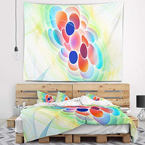 Designart 'Fractal Virus Under Microscope' Abstract Tapestry Blanket Décor Wall Art for Home and Office, Created On Lightweight Polyester Fabric x Large: 92 in. x 78 in