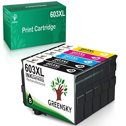 GREENSKY Cartucho de Tinta Compatible para Epson 603 603XL para Epson Expression Home XP-2100 XP-2105 XP-4105 XP-4100 XP-3105 XP-3100 Workforce WF-2850DWF WF-2835DWF WF-2830DWF WF-2810DWF