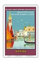 ヴェネツィア、イタリア - ベネチアの大運河 - 毎日の高速列車 - ビンテージな鉄道旅行のポスター によって作成された ジオ ドリバル c.1921 - アートポスター - 31cm x 46cm