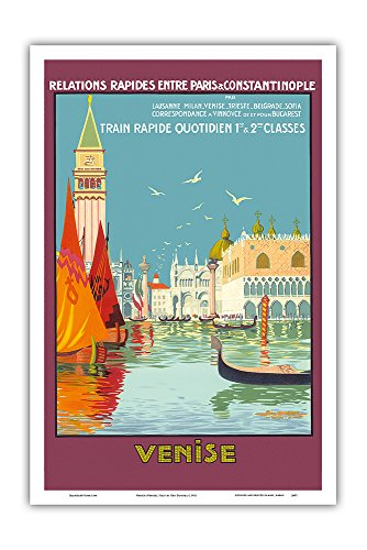 Venice (Venise), Italy - Venetian Grand Canal - Fast Train Daily (Train Rapide Quotidien) - Vintage Railroad Travel Poster by Geo Dorival c.1921 - Master Art Print - 12in x 18in