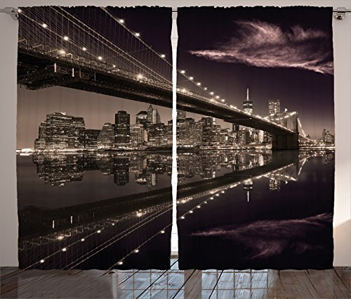 """Ambesonne Landscape Curtains, Brooklyn Bridge Sunset NYC View Skyline Tourist Attraction Modern City, Living Room Bedroom Window Drapes 2 Panel Set, 108"""" X 90"""", Brown Rose"""