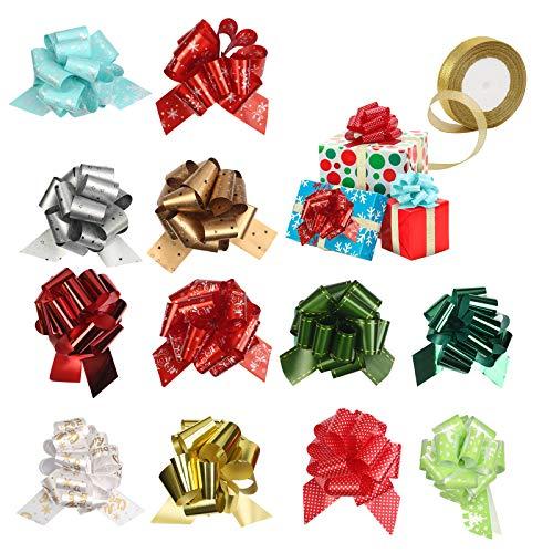 CINMOK 12 Pezzi Fiocchi di Tirata del Regalo di Natale,Confezione Regalo Fiocco Nastro Glitter Oro Metallizzato Regalo di Natale Decorazione per Cesto Bottiglia di Vino Decorazione