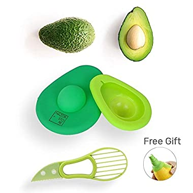Mazor Store Avocado Saver and Slicer 3 in 1 - Avocados Holder Pitter Set, Green Storage Huggers Container| Remove Pit Safety Knife Tool Keep Fresh | Avo Savers and Holders + FREE GIFT Lemon Spray