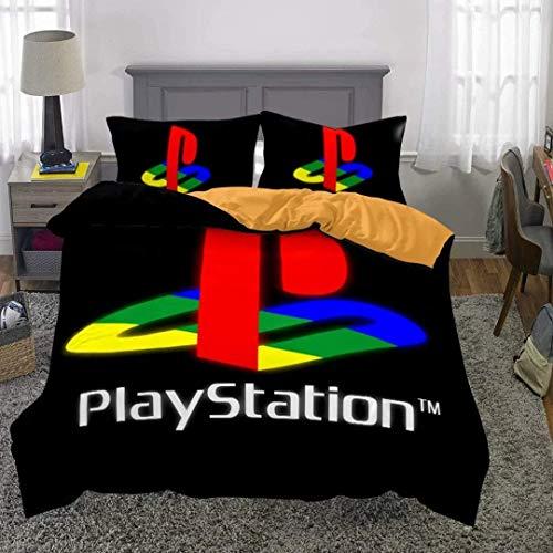 kxry Playstation 4 Duvet Cover Set for Boys Kids Teens Full Size Popular Video Games Bedding 1 Duvet Cover + 2 Pillow Shams