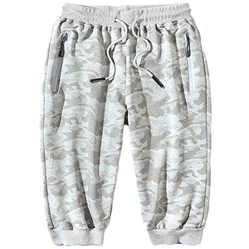 LEOCLOTHO Pantacourt Homme Coton Camouflage Short de Sport Grande Taille avec Poche Zippé, Gris, M