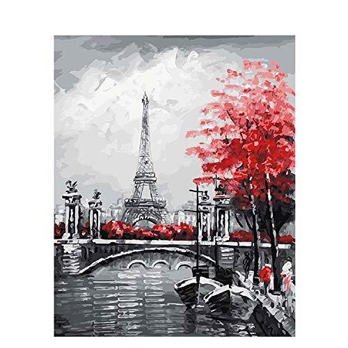 Pintar por Numeros Adultos DIY Kit Facil para Niños Lienzo Torre Eiffel 40x50 cm