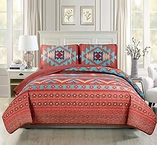 Western Southwestern Native American Tribal Navajo Design 3 Piece Multicolor Turquoise red Orange Brown Oversize King / California King Bedspread Quilt Coverlet Set (118