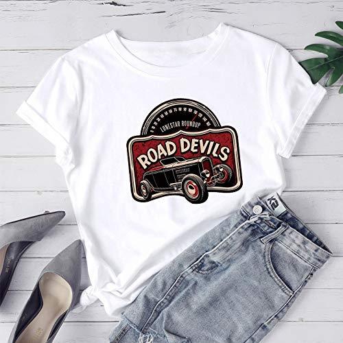 ZWH Comercio transfronterizo Amazon Deseo de Ebay en el algodón Ocasional de la Personalidad Alrededor del Cuello de la Camiseta de Europa y América Las Mujeres impresión Coches clásicos