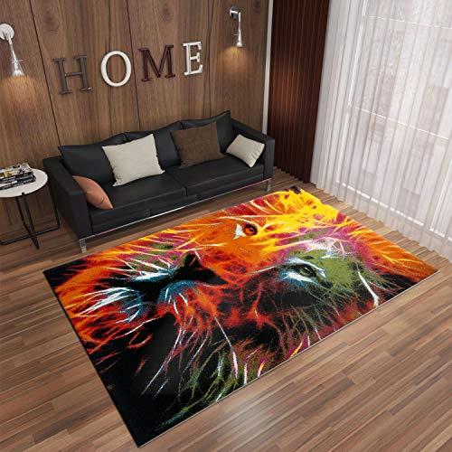 VIMODA Teppich Modern mit Löwen Kopf Muster Farbwelten, Maße:80x150 cm
