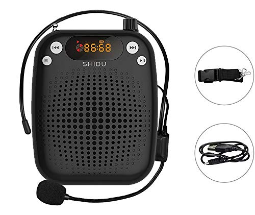 Portable Voice Amplifier,SHIDU Personal Speaker Microphone Headset Rechargeable,Clock,Digital Display,Waist Support MP3 for Tour Guide,Teacher,Elderly,Singing,Coach,Presentation,Training,Clergies.