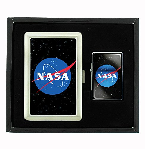 Amazing Deal Customized Collectables NASA Cigarette Case and Flip Top Oil Lighter Set