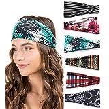 6 Pack Wide Headbands for Women Boho Style Cross Head Wrap Yoga...