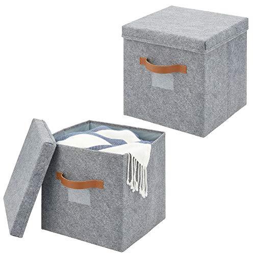 mDesign Juego de 2 cajas de almacenaje para armario o dormitorio – Cesta organizadora grande de fibra sintética y con tapa – Organizador de armario para guardar ropa y otros accesorios – gris