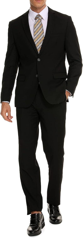 HENAET Men's Slim Fit Suit 3-Piece Classic Solid Color Two Button Daily Business Wedding Party (Blazer Pants & Shirt)