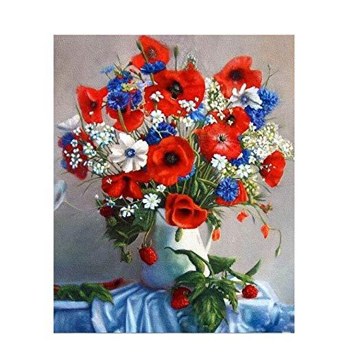 ZXDA Frameless DIY Pintura por números Kit de Flores Pintura acrílica por números Lienzo Pintura para decoración del hogar Regalo A6 50x65cm