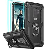 LeYi Compatible for Samsung Galaxy S9 Plus Case (NOT FIT S9) with [2 Pack] 3D Curved Screen Protector, [Military-Grade] Magnetic Ring Holder Kickstand Protective Phone Case for Samsung S9 Plus,Black