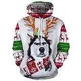 zlhcich Otoño e Invierno nuevos Hombres suéter Perro Navidad 3D impresión Digital Cuello Redondo suéter con cordón