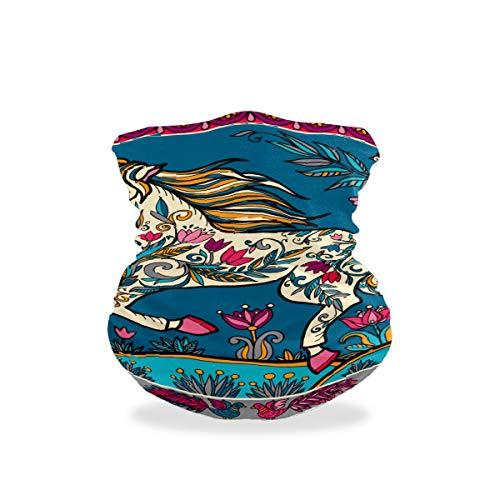 BOLIMAO Boho-Pferd-Blumen-Schutzmaske, atmungsaktiv, multifunktional, waschbar, Kopfbedeckung, Halstuch, Schal für Sonne, UV-Staub, Wind