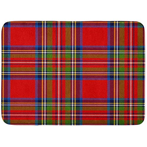 Türvorleger,Rot Kariertes Schottisches Plaid In Klassischen Farben Royal Stewart Tartan-Schnittmuster Schnittmaske Blauer Kilt-Badezimmerdekorteppich 80 * 50 cm