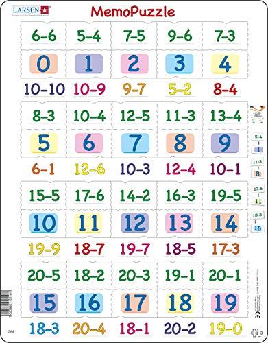 Larsen GP8 MemoPuzzle. Sustracción con números del 0 al 20, Puzzle de Marco con 40 Piezas