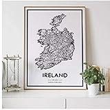 Mapa de carreteras del país de Irlanda decoración nórdica para sala de estar póster en lienzo decoración moderna para el hogar pintura impresa-60x80cm sin marco