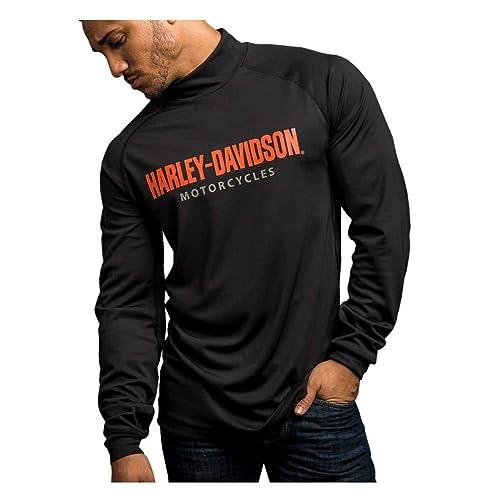1ead7dd2 Harley-Davidson Men's Turn to Victory Performance Mock Neck Shirt 5P34-HB4L  Black