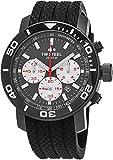 TW Steel Grandeur Diver Watch - Black Dial Date TW Steel Watch Mens - 45mm Stainless Steel Chronograph Watch - Black Rubber Band Dive Watch TW704