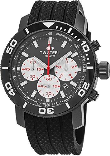 TW Steel Grandeur Taucheruhr – schwarzes Zifferblatt Datum TW Stahl Uhr Herren – 45 mm Edelstahl Chronograph Uhr – schwarzes Gummiband Taucheruhr TW704