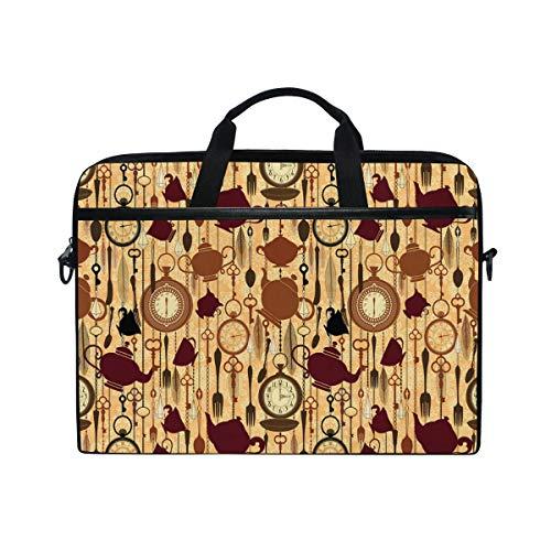 VICAFUCI New 15-15.4 inch Laptop Bag,Shoulder Bag,Handbag,Tea Party Breakfast Brunch Time Print