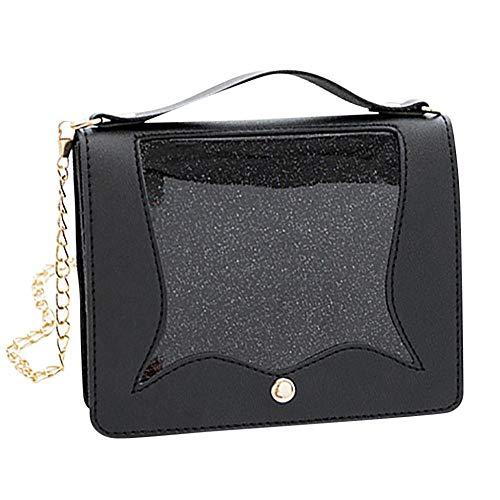 Women Shoulders Small Bags Mini Small Bag Cover Transparent Package Messenger Bag Crossbody Bags for Women Black