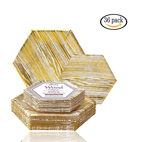 PARTY DISPOSABLE 36 PC DINNERWARE SET | 18 Dinner Plates | 18 Salad or Dessert Plates | Heavy Duty Paper Plates | Hexagon Wood Design | for Upscale Wedding and Dining (Wood Collection – White/Gold)