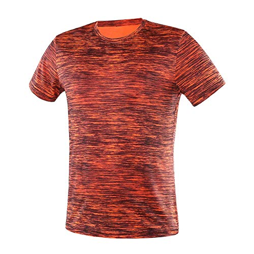 Men's Quick Dry Fit Dri-Fit Short Sleeve Active Wear Training Workout Athletic Essentials Crew T-Shirt Fitness Gym Wicking Tee Workout Shirt,Orange,4XL