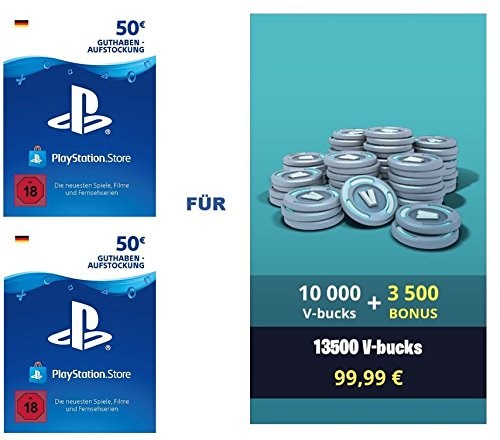 PSN Guthaben für Fortnite - 10.000 V-Bucks + 3.500 extra V-Bucks - 13.500 V-Bucks DLC | PS4 Download Code - deutsches Konto