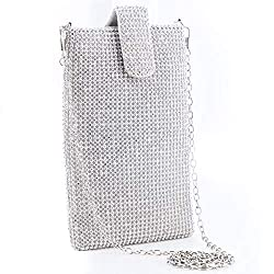 Silver-B Metal Mesh With Rhinestones Crossbody Mobile Purse