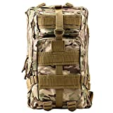 HUKOER 17.7''x 9.9''x 9'' Tactical Rucksack - Fashionable 30L Multiple Colors Outdoor Tactical Shoulder Hiking Daypack Military Backpack Perfect for Young Camping Trekking Hunting (CP Color)