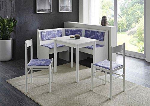 Dreams4Home Eckbankgruppe 'Wolfgang II', Essgruppe 125 x 125 x 82 cm, Vierfußtisch, 2 Stühle, modern, Eckbank, Küchentisch, 4-teilig Landhaus Küche, Polsterung blau weiß Gemustert, weiß