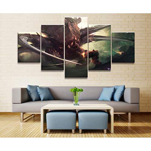 ADGUH Cuadro sobre Lienzo Juego de 5 Piezas Pinturas de póster Juegos de Campos de Batalla de Fuego Gratis Lámina de Arte Pinturas de Lienzo Arte de Pared Impresiones en Lienzo