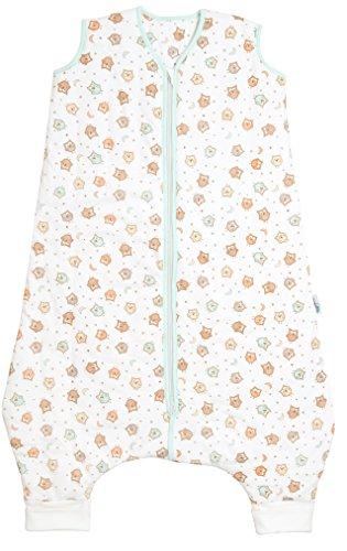 Schlummersack Schlafsack mit Füssen leicht gefüttert für den Sommer in 1.0 Tog - Eule - 100 cm