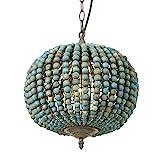 Newrays Wood Bead Chandelier Pendant Light Vintage Farmhouse Rustic Kitchen Ceiling Light Fixtures(Globe Blue)