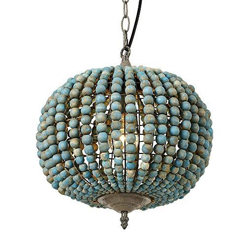 Newrays Lampadario con perline di legno Lampada a sospensione Lampada da soffitto rustica in stile rustico da fattoria vintage (Globo Blu)