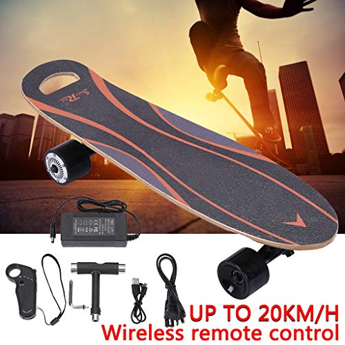 Qiang Electric Skateboard,Electric Skateboard 7 Layer Maple Concave Longboard Scooter with Hub Motor,70x20CM【US Warehouse Shipment】