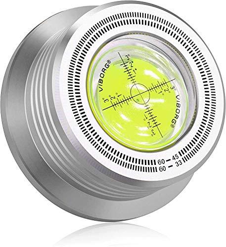 Viborg 60HZ Plattenspieler Schallplattenauflagegewicht,die eingebaute Libelle,Wasserwaage Schallplatten Silber Disc Stabilizer Record Weight für Plattenspieler